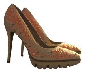 Donald J. Pliner Modern Lug Sole Nude Cream beaded with coral bead accents Pumps