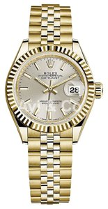 Rolex Rolex Lady-DateJust 28 18K Yellow Gold Watch Silver Dial 279178