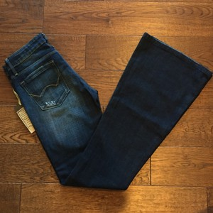 Cult of Individuality Comfortable Vintage Wide Flare Leg Jeans-Dark Rinse