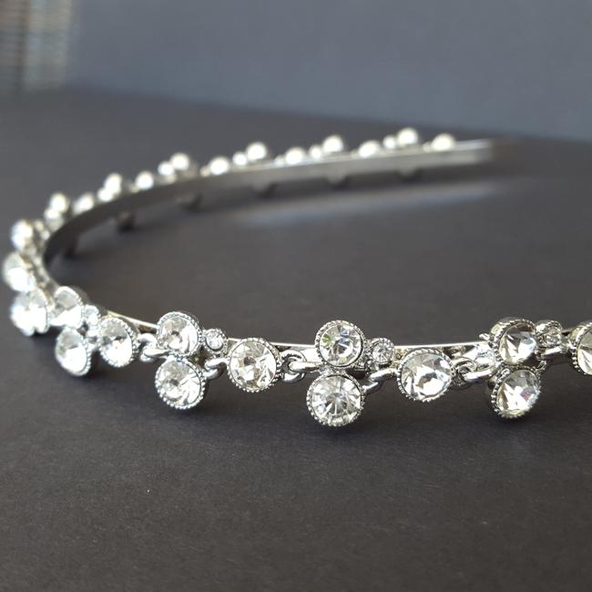 Item - Silver Slim Headband with Round Crystals Hair Accessory