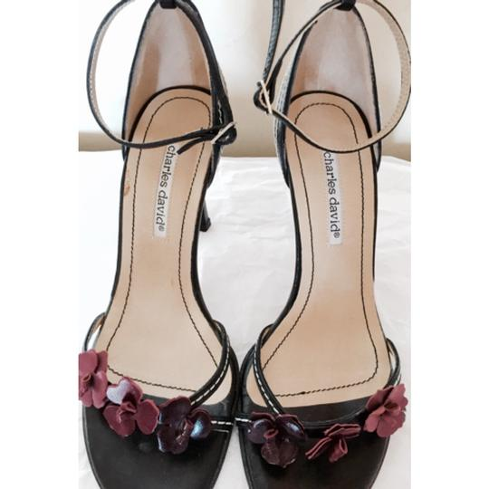 Charles David Black with lavender and purple flowers Pumps
