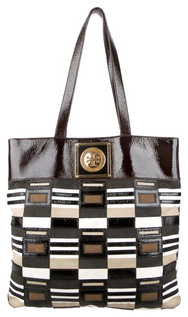 Item - Chocolate Ivory Multicolor Brown Gold Patent Leather Tote