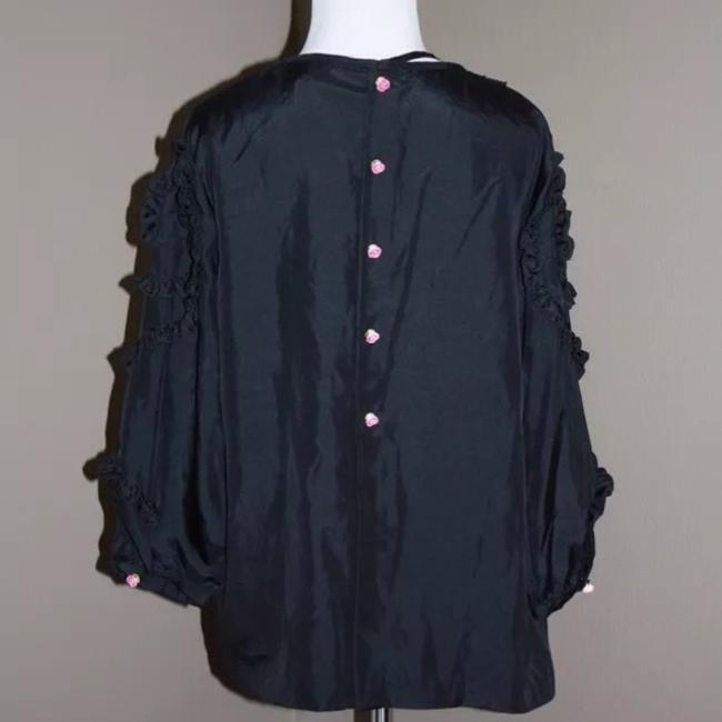 Manoush Ruffle Tassels Silk Top Black
