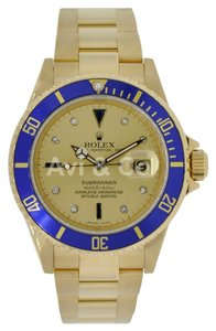 Rolex Rolex Submariner 18K Yellow Gold Watch Diamond & Sapphire Serti Dial 16618