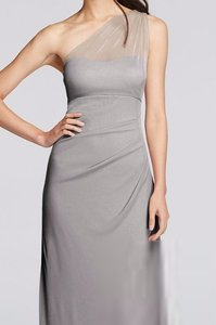 David's Bridal Mercury Long Mesh One Shoulder Illusion Dress Dress