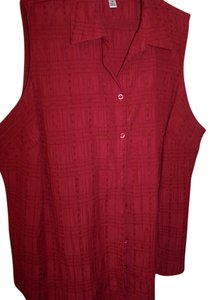 Croft & Barrow Blouse Dressy Casual Button Down Shirt brick red