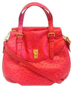 Marc by Marc Jacobs Leather Ostrich Summer Satchel in Red