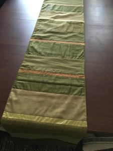 Crate & Barrel Runner Long with Silk Satin Inserts Tablecloth