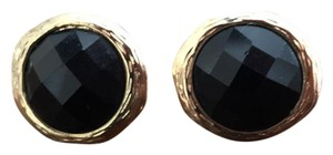 Gold tone multi-faceted studs black gemstone