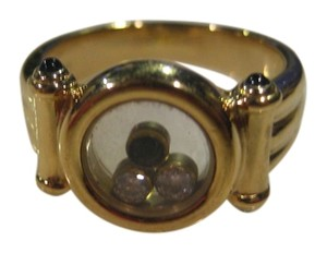 Chopard VINTAGE CHOPARD 18KT YELLOW GOLD DIAMOND SAPPHIRE HAPPY DIAMOND ROUND RING