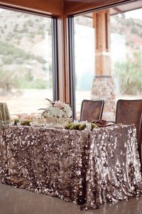 """Blush 120""""' Round Sequin Payette Rose Gold Chunky Sequin Bling Glam Sparkle Tablecloth"""