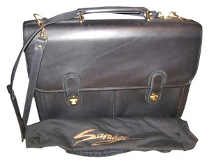 Savaage Briefcase Leather Vintage Black Messenger Bag