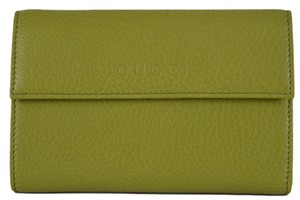 Gucci New Gucci 346057 2212 Apple Green Leather Logo French Wallet W/Coin Pocket
