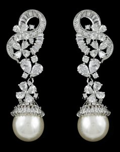 Pearl And Cz Floral Drop Wedding Earrings