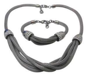 Stainless Steel Mesh Chains with Austrian Crystals Necklace/ Bracelet