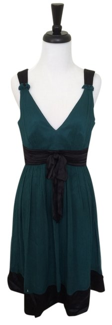 Preload https://img-static.tradesy.com/item/14856703/laundry-by-shelli-segal-teal-silk-black-satin-trim-mid-length-short-casual-dress-size-6-s-0-1-650-650.jpg