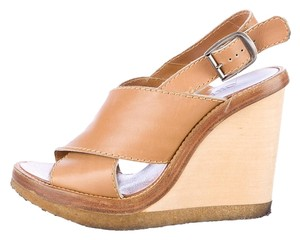Chloé Leather Wedge Tan Sandals