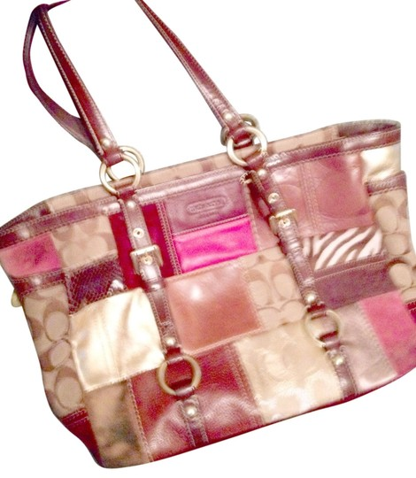 Coach Tote in holiday patchwork