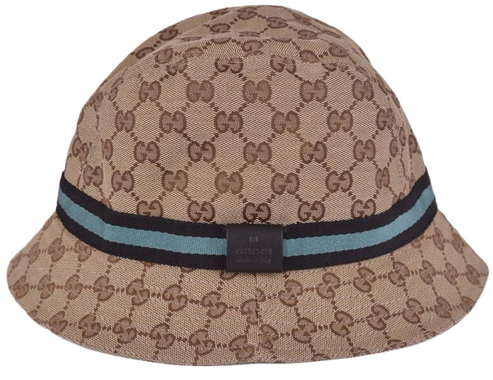 96be2d04089 Gucci NEW GUCCI 200036 GG Guccissima Beige Blue Web Stripe Fedora Bucket Hat  LARGE Image 0 ...