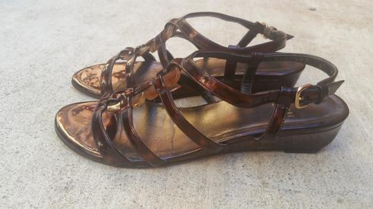 Stuart Weitzman Patent Leather Tortoise Shell Vintage Brown Sandals