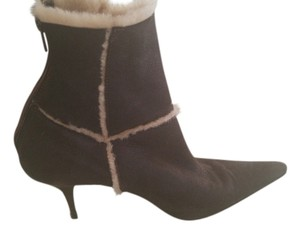 Casadei Brown Leather Booties w/Fur Trim Boots