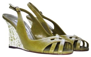 Manolo Blahnik Green Wedges
