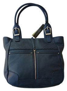 B. Makowsky Leather Tote in Dark Navy
