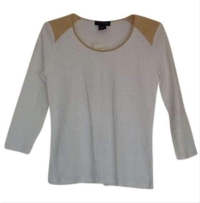 Preload https://img-static.tradesy.com/item/148579/ann-taylor-white-and-tan-long-sleeve-tee-shirt-size-0-xs-0-0-650-650.jpg