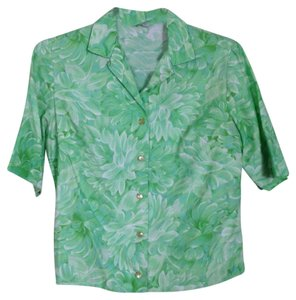 Graff Californiawear Short Sleeve Vintage 60s Peonies Flowers Top green