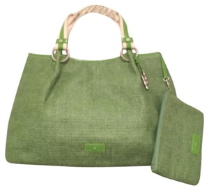Elaine Turner Elaine Straw Tote in Green, White