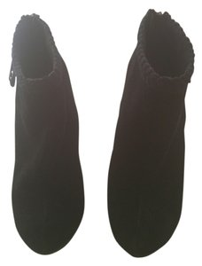 Chinese Laundry Black Suede Booties Wedges