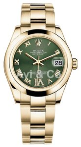 Rolex Rolex DateJust 31 18K Yellow Gold Watch Domed Bezel Olive Dial 178248