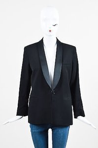 Theory Theory Black Wool Blend Textured Shawl Lapel Ls Structured Blazer