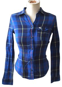 Abercrombie Kids Button Down Shirt Blue Plaid Flannel