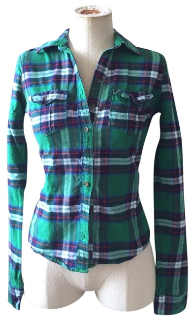 Abercrombie & Fitch Button Down Shirt Green Plaid Flannel