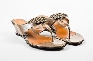 Fendi Taupe Patent Brown Sandals