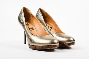 Lanvin Pewter Metallic Wood Silver Pumps