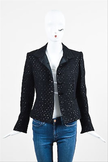 good Les Copains Black Wool Blend Twill Faceted Button Ls Structured Jacket