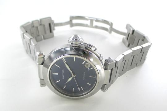 Cartier CARTIER PASHA C WATCH BLUE DIAL STAINLESS STEEL AUTOMATIC AUTHENTIC WRISTWATCH