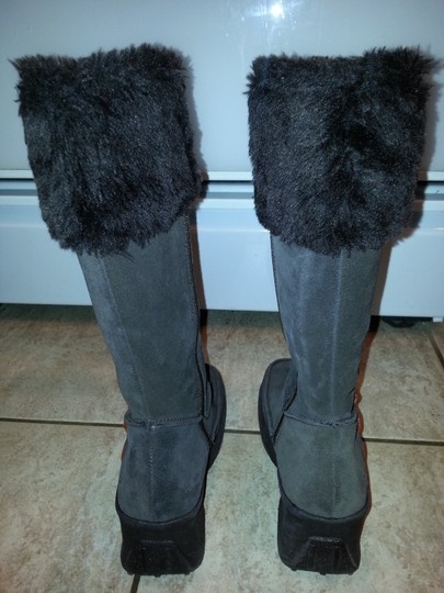 Skechers Suede Fur Trim Wedge Heel Knee High brown Boots