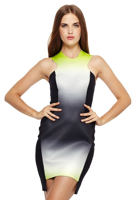 Item - Lime Ombre Scuba Above Knee Night Out Dress Size 8 (M)