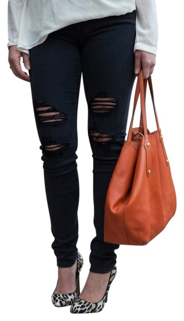 Item - Black Distressed High Rise Destroyed Rhea Skinny Jeans Size 28 (4, S)