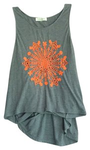 Sugarlips Top Gray with Orange embroidered front
