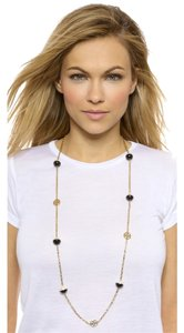 Tory Burch Tory Burch Dipped Evie Chain Rosary Pearl Gold Plated Black Ivory White Necklace