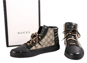 Gucci Leather Canvas High Top Mens Black/Gray Athletic