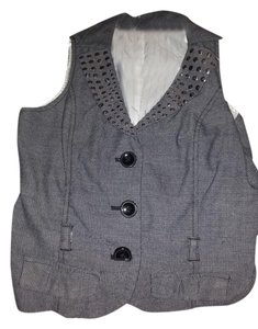 Candie's Button Down Shirt gray vest with sequence