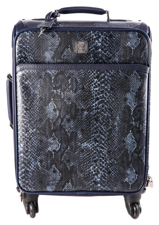 Mcm Luggage Python Leather Blue Travel Bag