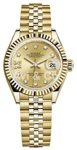 Rolex Rolex Lady-DateJust 28 18K Yellow Gold Watch Champagne Diamond Dial 279178
