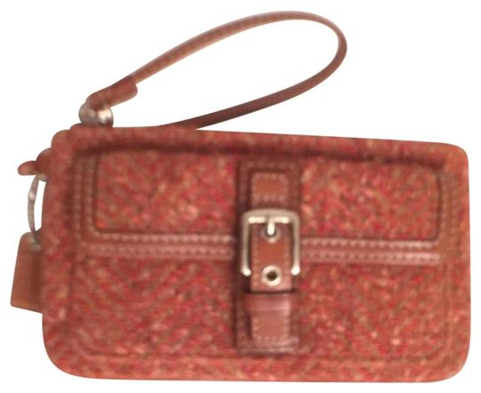 Preload https://img-static.tradesy.com/item/14859673/coach-scaro-tweed-leather-trim-red-orange-wool-wristlet-0-1-540-540.jpg