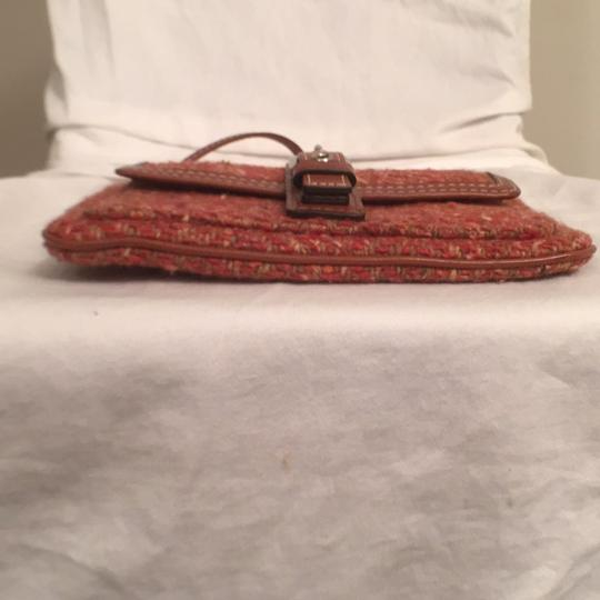 Coach Purse Handbag Clutch Tweed Leather Wristlet in Red Orange